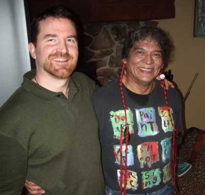 Amos with Native American Story Teller and Methodist Minister Dayton Edmonds in 2011
